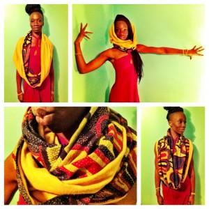 African print hoodie scarf