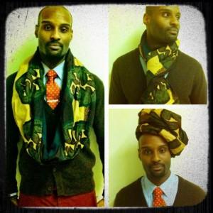 African print reversible infinity hoodie scarf green