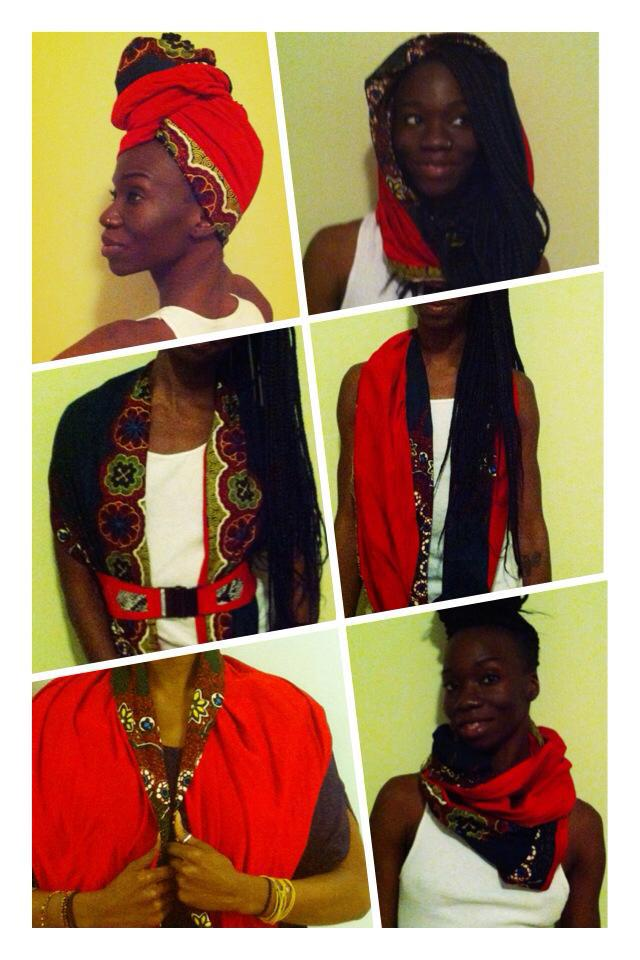 African print reversible infinity scarf red