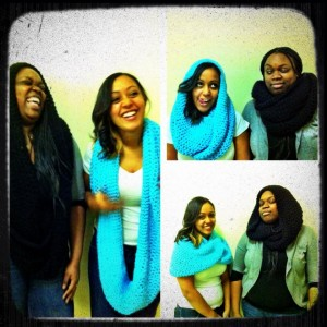 Infinity hoodie scarf teal and black
