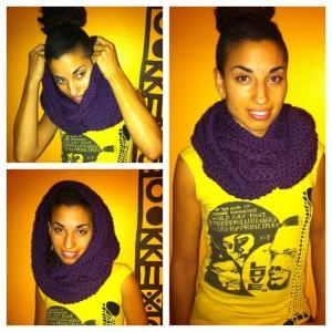 crochet infinity hoodie scarf purple
