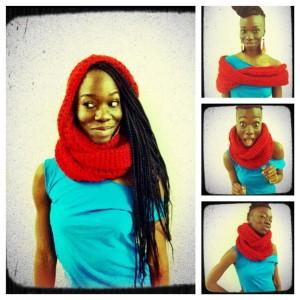 crochet infinity hoodie scarf red