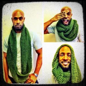 infinty hoodie scarf green