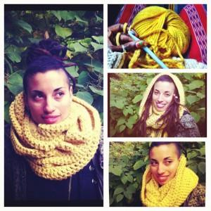 merino wool infinity hoodie scarf